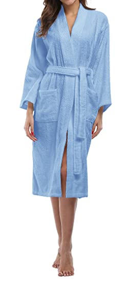 e4323dcb3b Kimono Palace Women s Soft Turkish Cotton Spa Lounge Robe Terry Short  Bathrobe