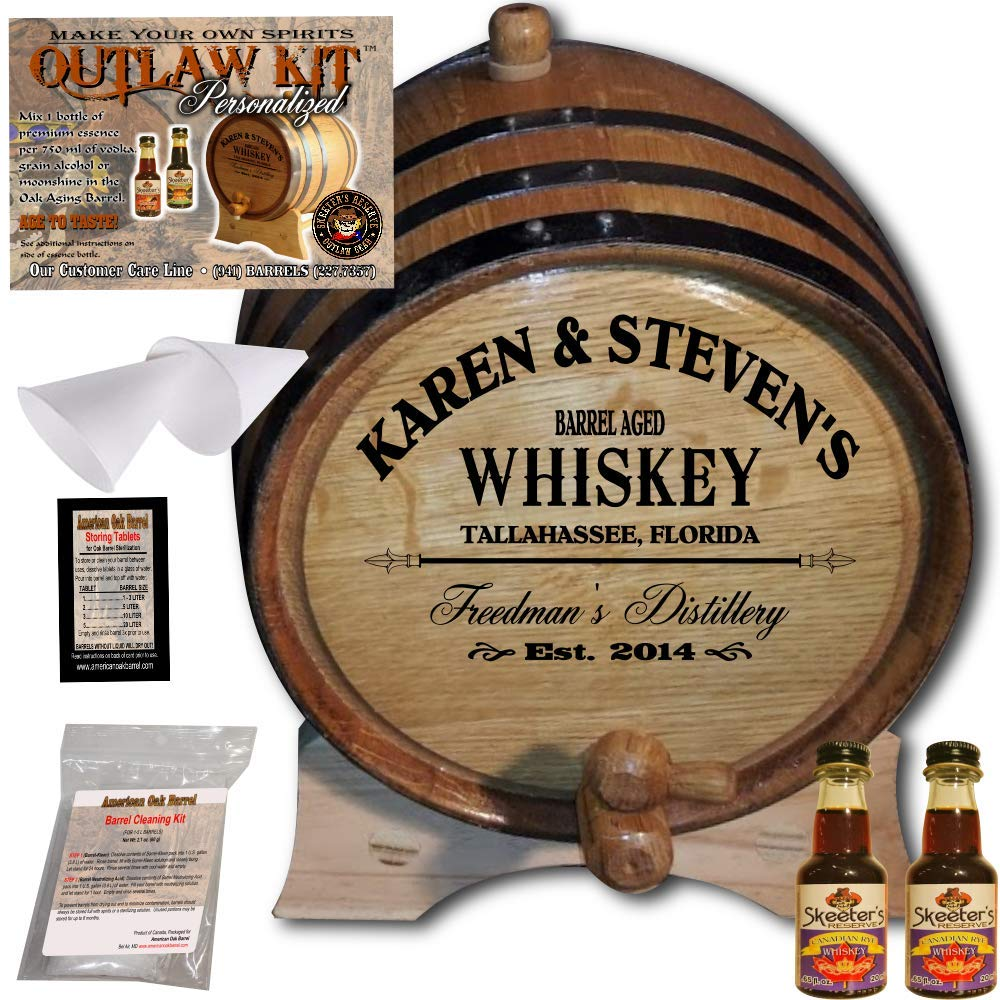 Personalized Whiskey Making Kit (063) - Create Your Own Canadian Rye Whiskey - The Outlaw Kit from Skeeter's Reserve Outlaw Gear - MADE BY American Oak Barrel - (Oak, Black Hoops, 2 Liter)