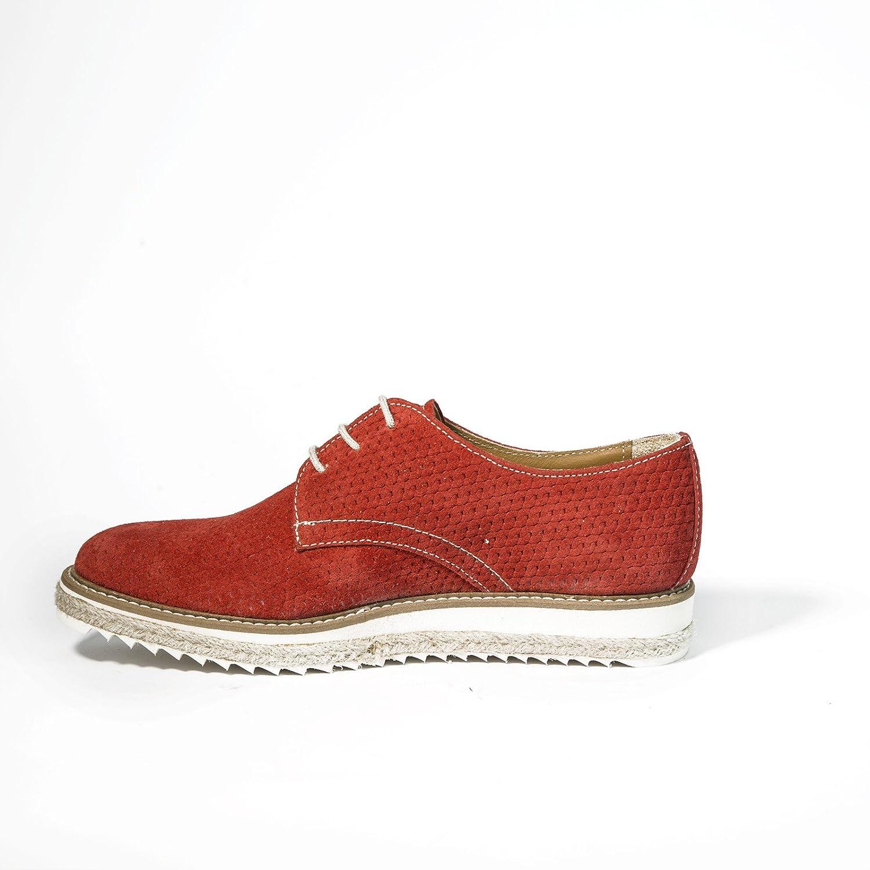 c7ffedb592087 Stringate in Pelle Scamosciata Derby Scarpe Artigianali Donna di Colore  Rosso Calzature Italiane Shoes Lace-up Made in Italy