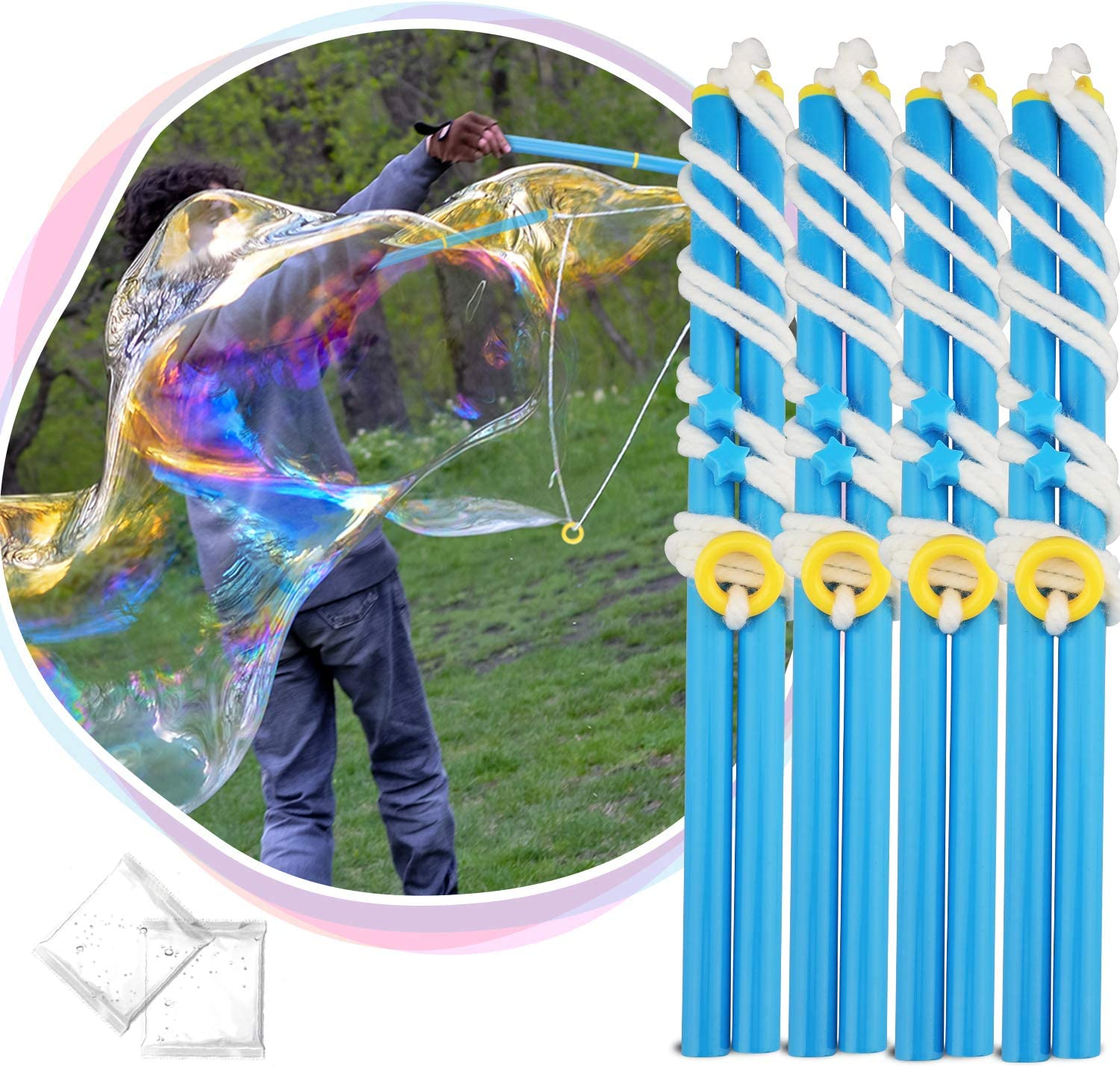 2 Pieces Giant Bubble Wands Rope Kit Outdoor Activities Making Long Huge Bubbles