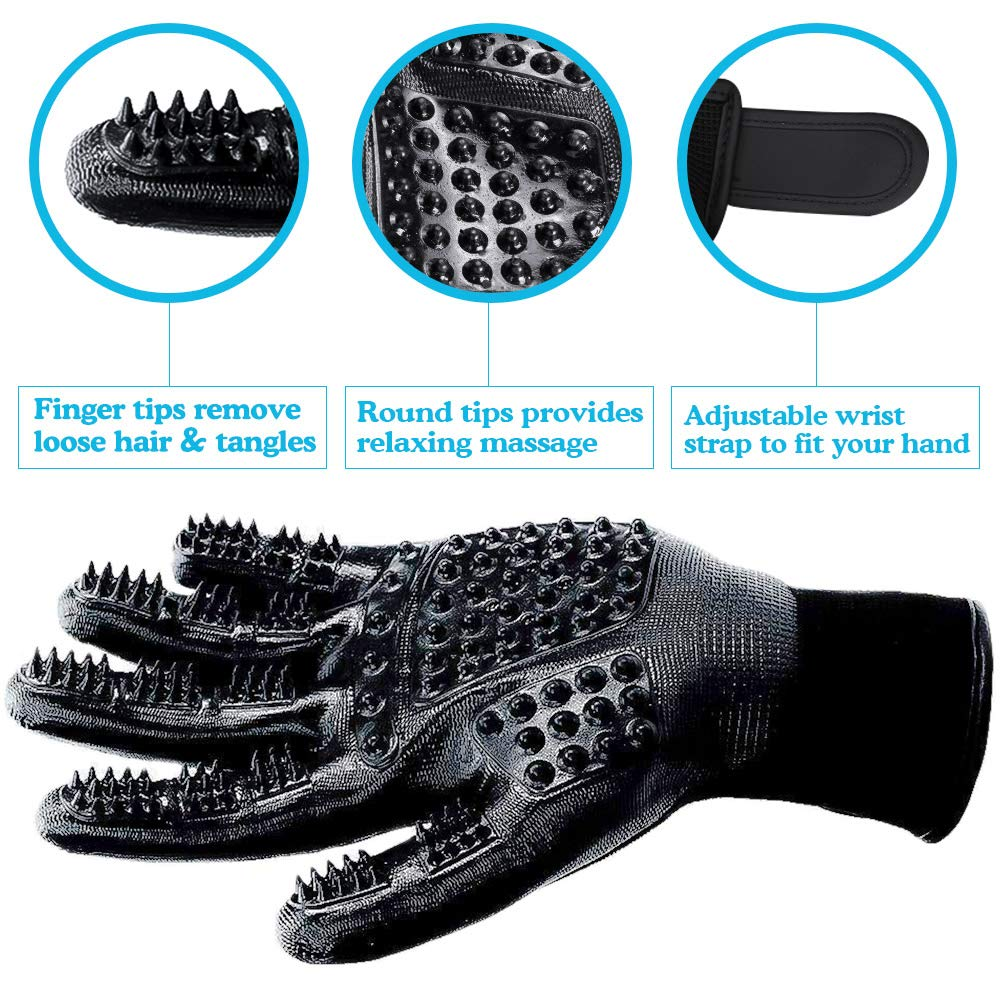 DELOMO Pet Deshedding Glove, Left & Right-Gentle Grooming Gloves, for Dogs,Cats & Horses, Efficient Pet Hair Remover Glove, Hair Glove with Enhanced Five Finger Design by DELOMO (Image #3)