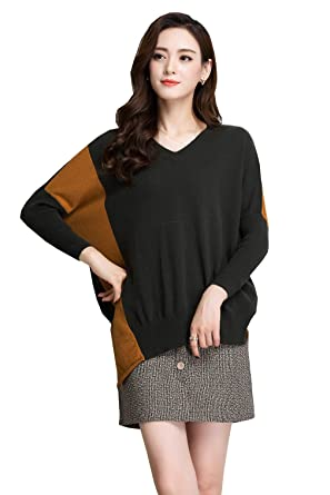 3b11a60bf3d METERDE Women s V Neck Pullover Relax fit Cashmere Sweater Jumper Black  Green at Amazon Women s Clothing store