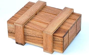 LOGICA GIOCHI Art. Caja de Pandora M - Caja Secreta - Dificultad 3/6 Difícil - Rompecabezas De Madera - Colección Leonardo da Vinci: Amazon.es: Juguetes y juegos