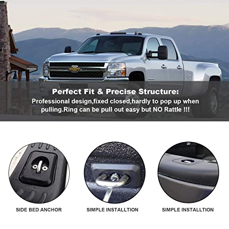 Side Wall Hook Rings for 1998-2014 F-150,1998-2016 Super Duty Youxmoto 2 Pcs Retractable Truck Bed Side Wall Tie Down Anchors