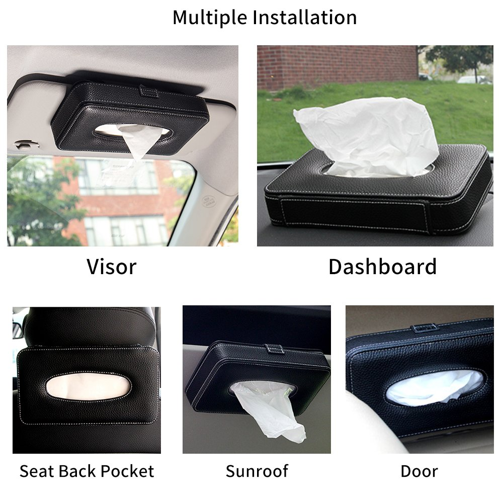 Mr.Ho Luxury Black Leather Car Back Seat Headrest Hanging Tissue Holder Case Mount Multi-use Car Tissue Paper Holder with One Tissue Refill for Car /& Truck Decoration
