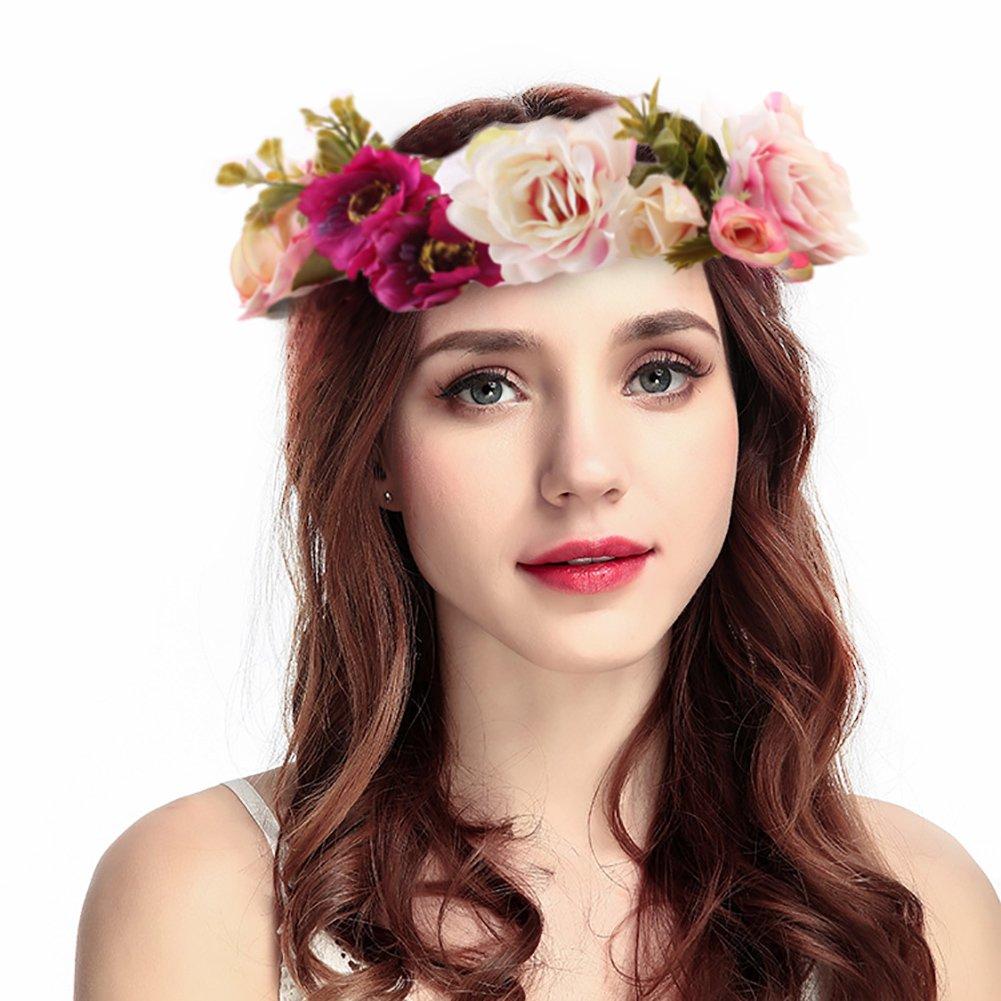 Scheppend Filles Couronne Fleur Bandeau Femmes Floral Couronne Guirlande Chapeaux pour Fêtes De Mariage Fêtes, Rose