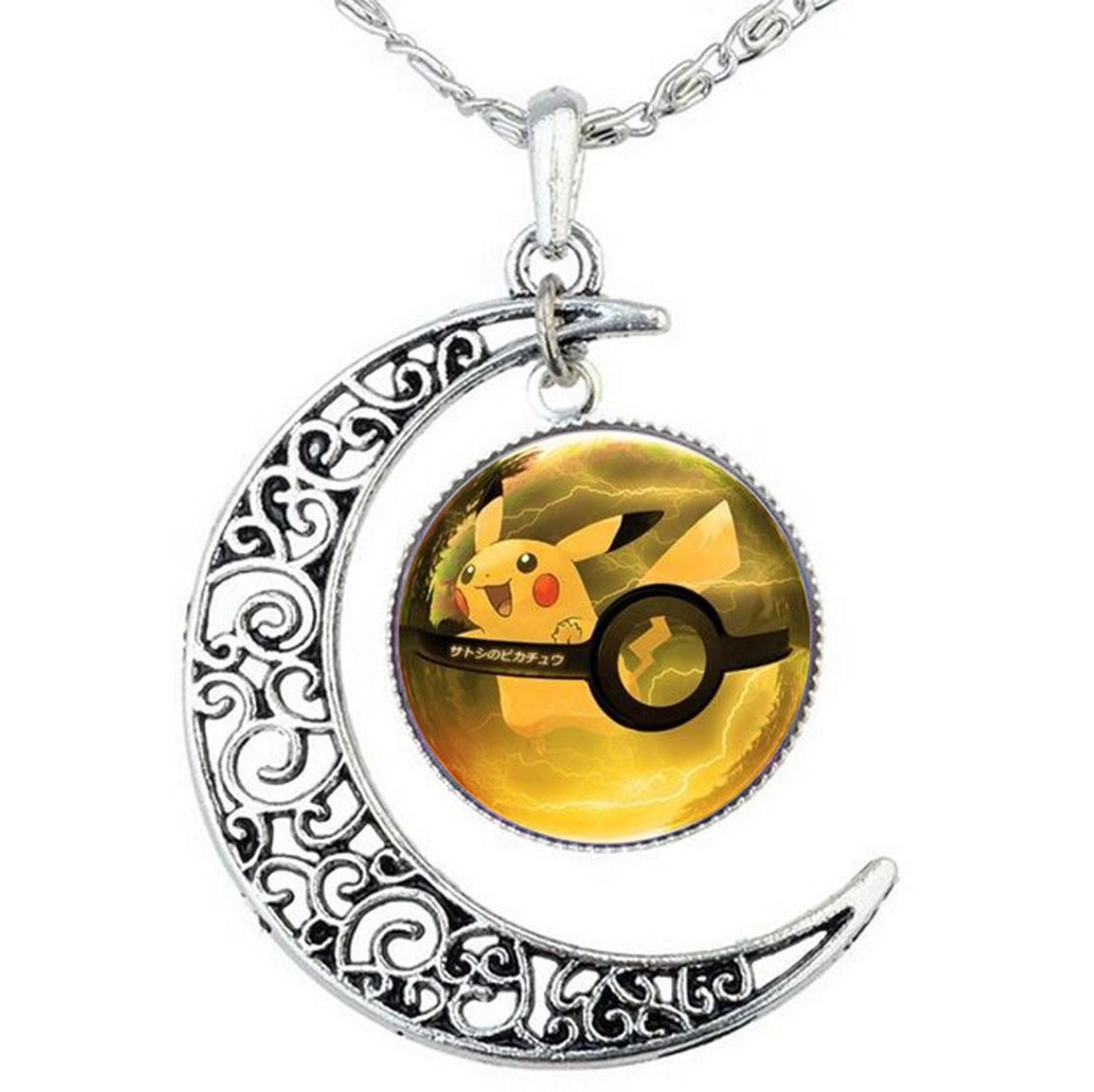 Pokemon Pokeball and Crescent Necklace Anime Pokemon Go Pikachu Pokemon Glass Dome and New Moon Necklace (Style 2)