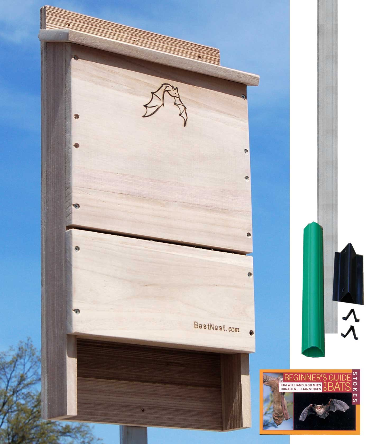 BestNest Single-Celled Bat House Kit with Pole, 85 bats by BestNest