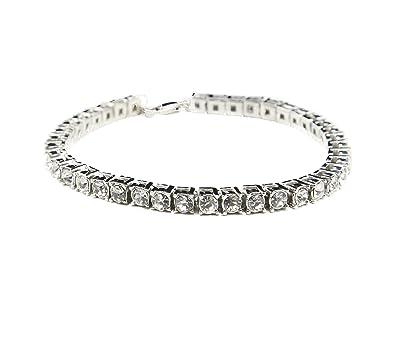 MCSAYS Fashion Jewelry Single One Row Rhinestone CZ Crystal Tennis Chain  Bracelet Hip Hop Men s Bling 81da2f58484f