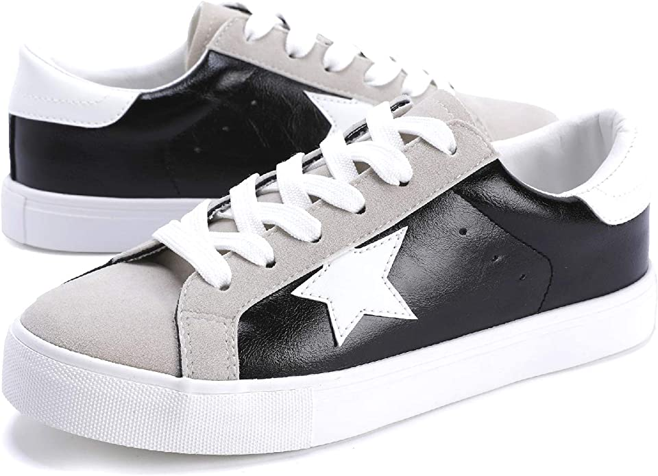 Womens Fashion Star Sneakers Lace Up