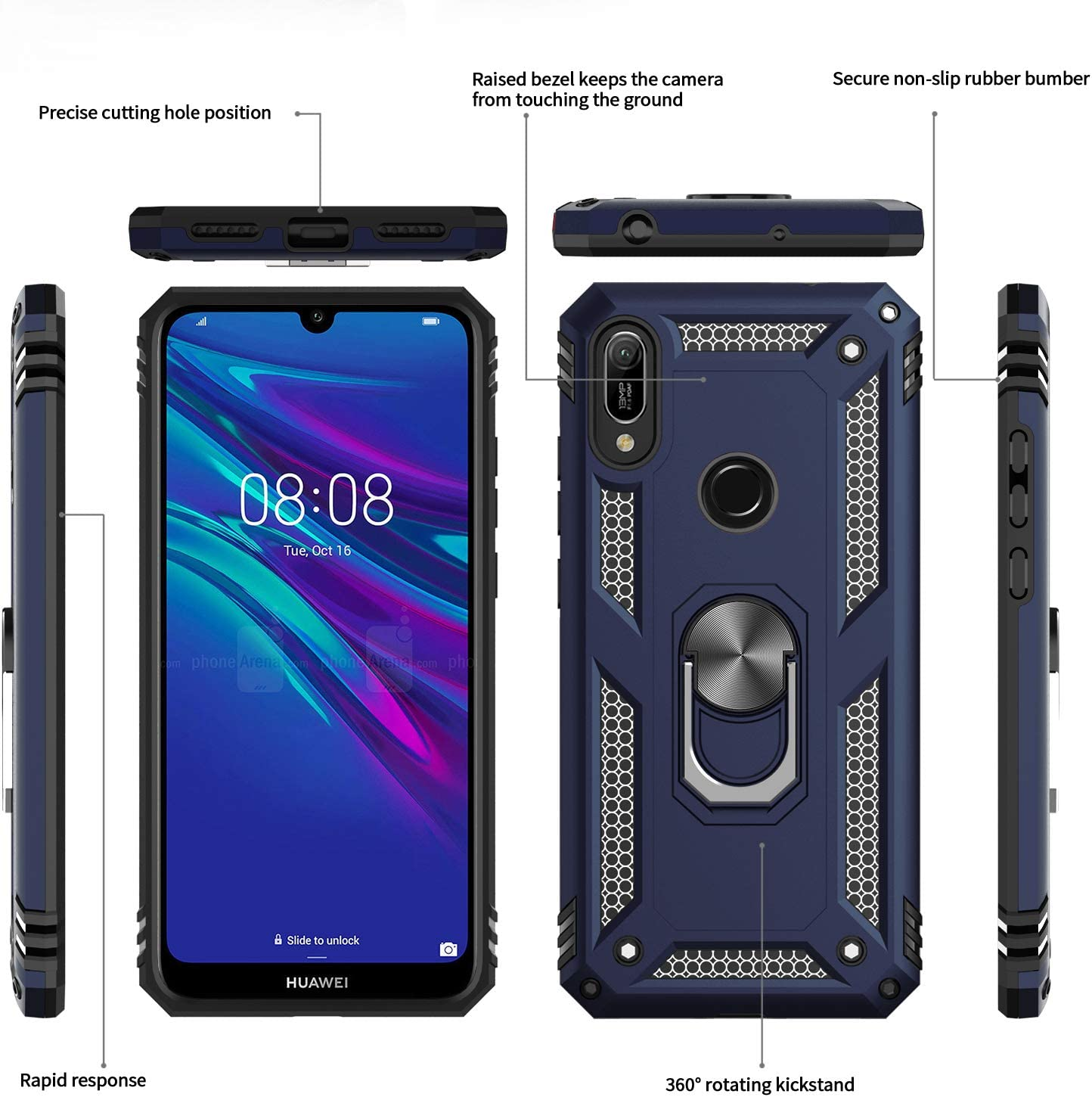 LeYi Case for Huawei Y6 2019//Honor 8A with Ring Holder Military Grade Protective Silicone Shockproof Tough Armour Phone Cover and 2 Tempered Glass Screen Protector for Huawei Y6 2019 Rose Gold