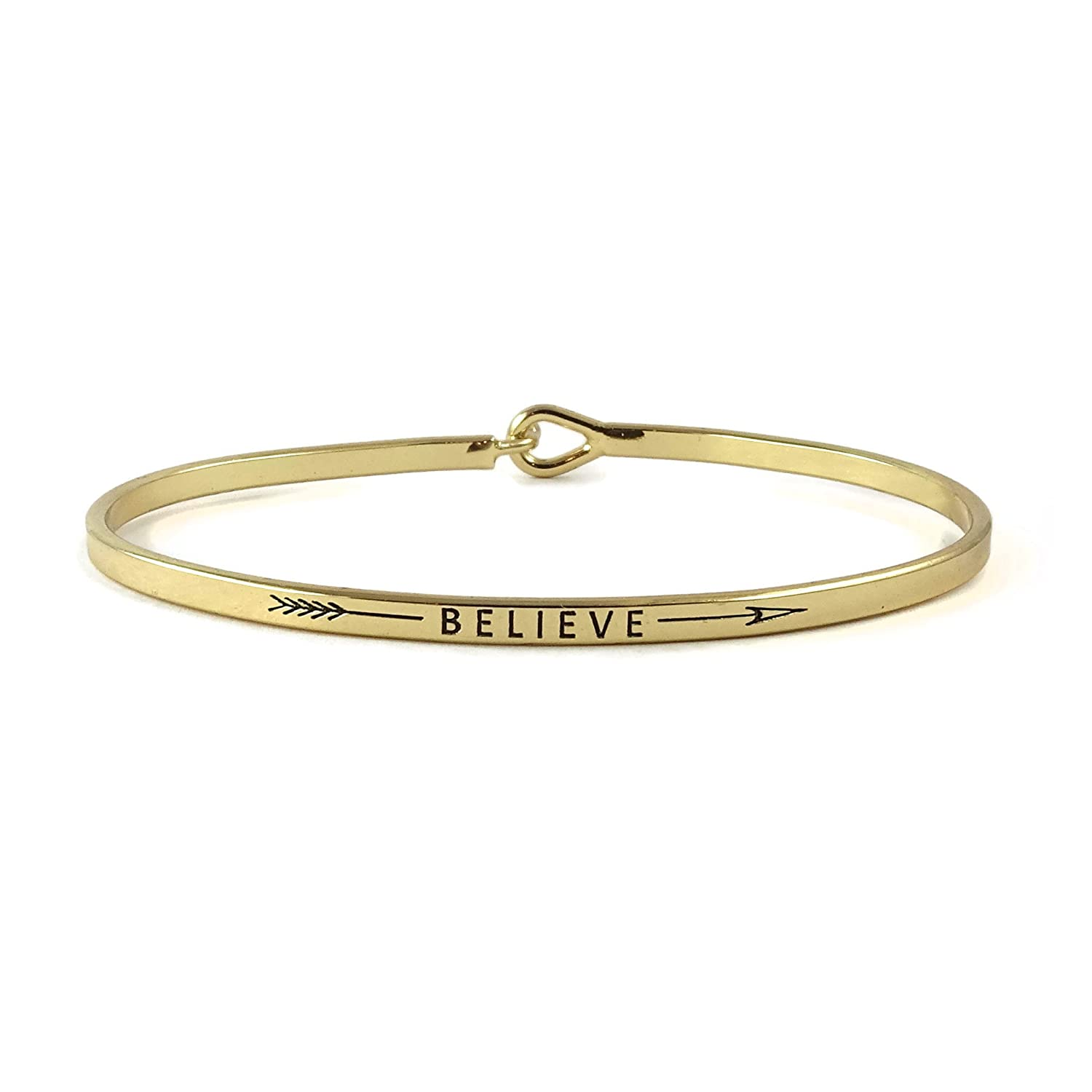 """Believe"" Inspirational Hook Bangle Bracelet"