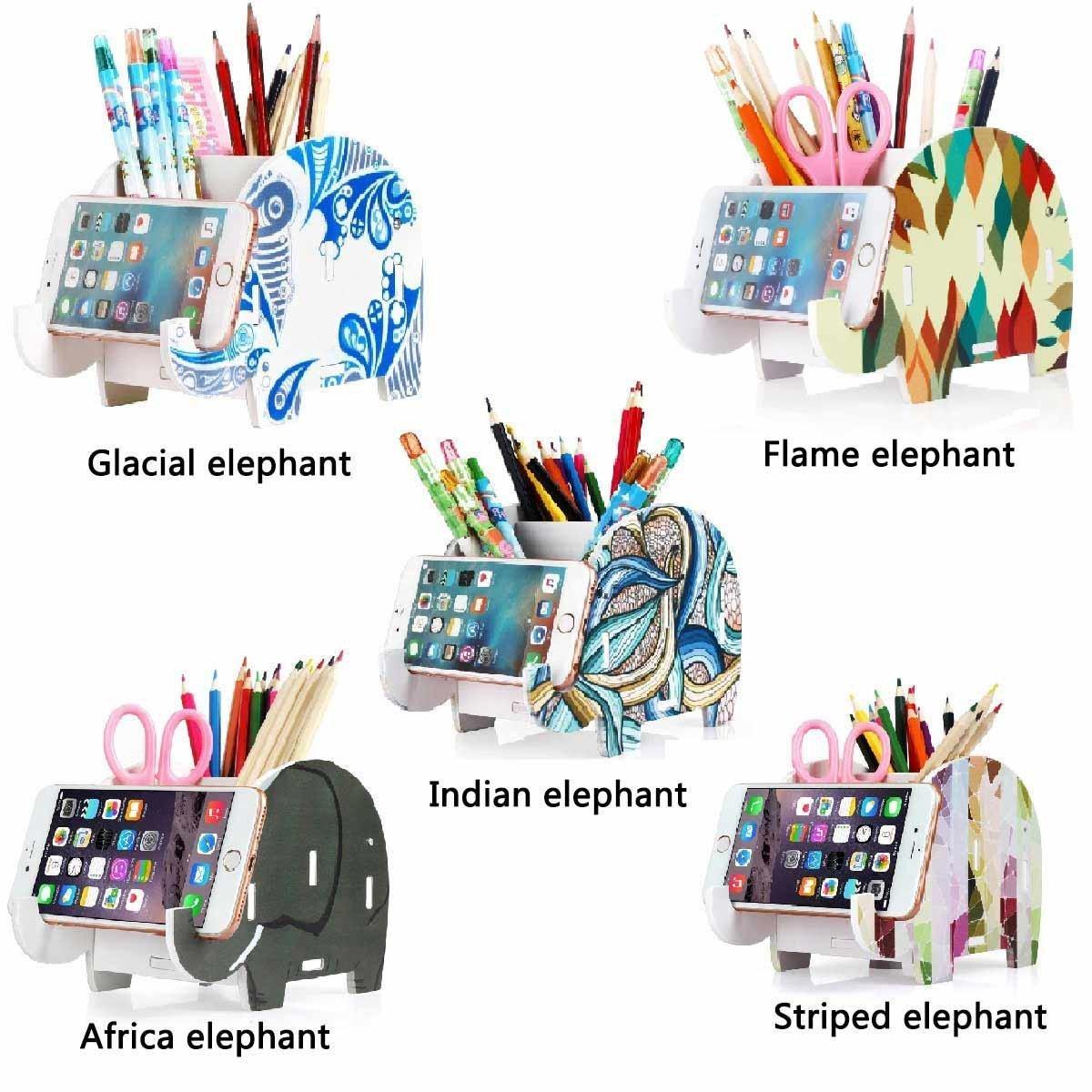 ... lápiz, soporte para teléfono móvil, soporte de almacenamiento, contenedor, caja de papelería, organizador, color Glacial elephant: Amazon.es: Oficina ...