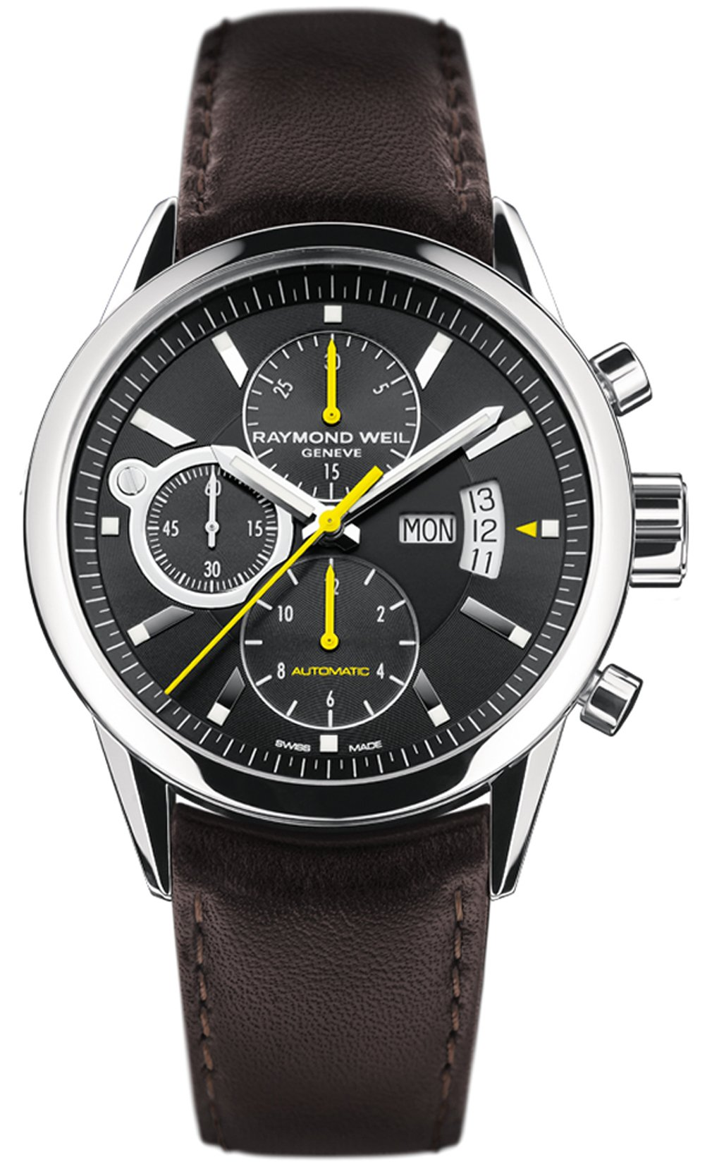 Men's Freelancer Automatic Chronograph Black Dial Brown Genuine Leather by Raymond Weil