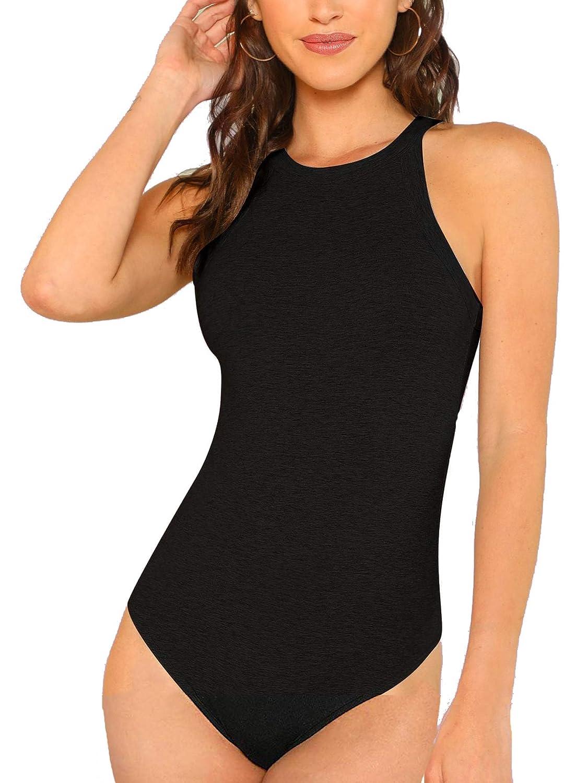 Milumia Women Skinny Halter Mid Waist Solid Bodysuit Top
