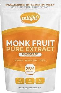 ENLIGHT - 100% Pure Monkfruit Extract (100g / 3.5oz Size) Zero Calories, Keto Friendly, Sugar Free Natural Sweetener