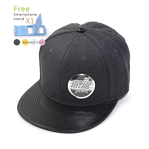 b43aec84ed3 Premium Heather Wool Blend Flat Bill Adjustable Snapback Hats Baseball Caps  (Leather Black Heather