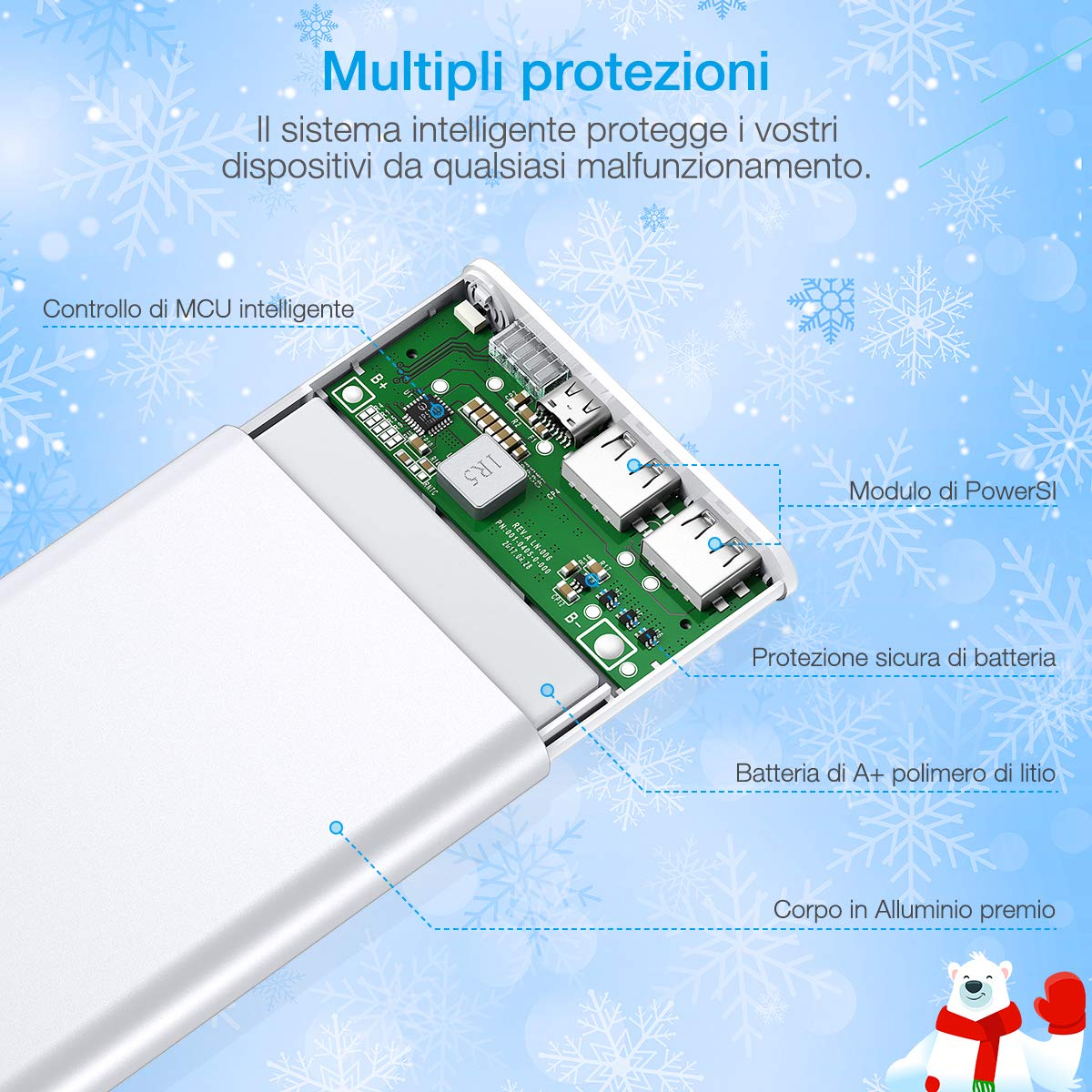 Poweradd Pilot 2GS 10,000mAh Caricabatterie portatile due porte Power Bank Batteria Esterna per iPhone, iPad, iPod, Samsung e tanti altri Phone