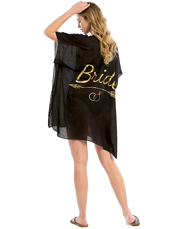150d64beb Sheer Metallic Print Women's Bride Maid of Honor Tribe Bridal Party Swimsuit  Cover Up Beach Wedding Party (Black - Bride) at Amazon Women's Clothing  store: