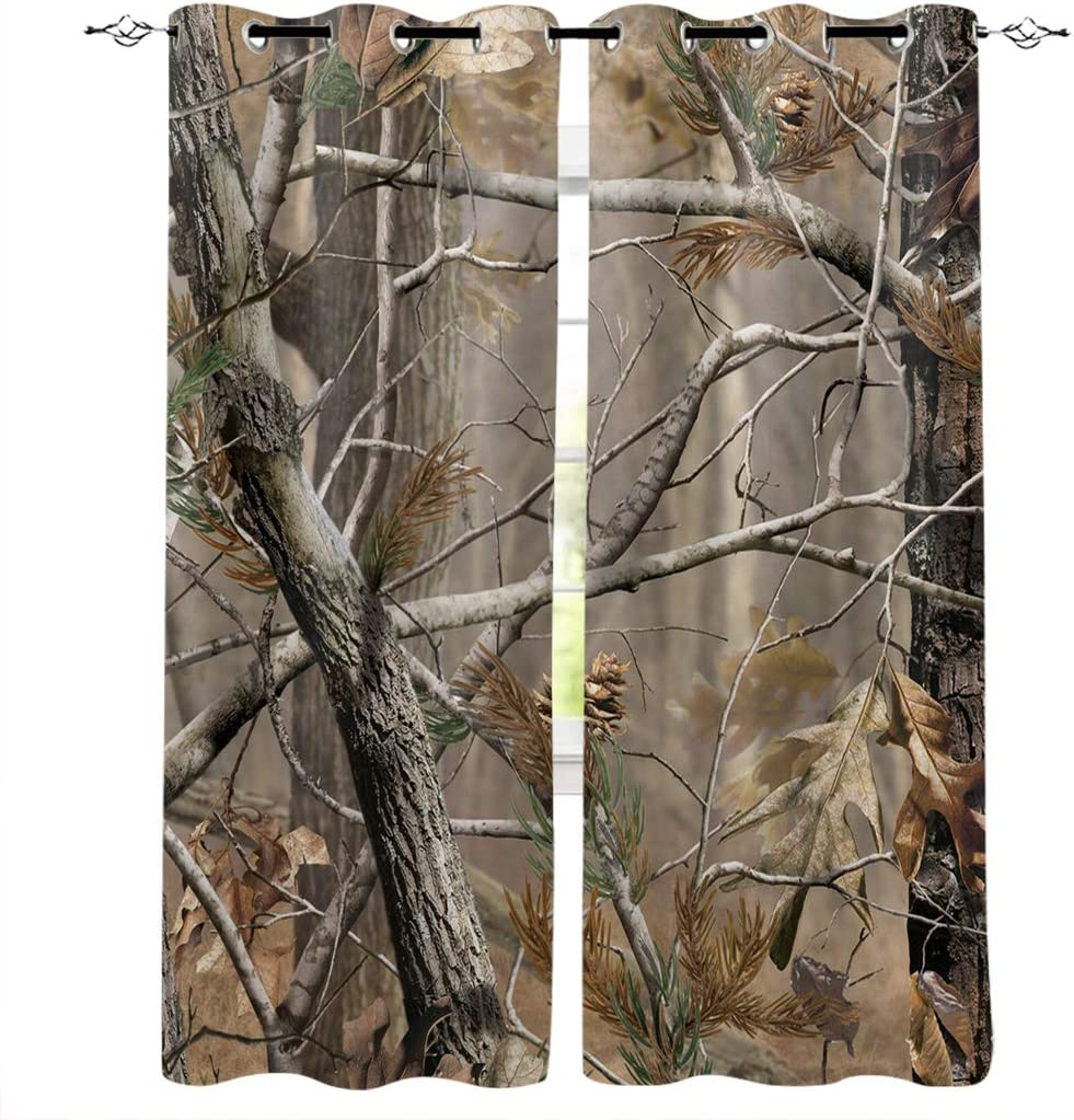 FortuneHouse8 Blackout Curtains Thermal Insulated Realtree Camouflage Room Drapes Window Curtain for Bedroom Living Room Set of 2 Curtain Panels Home Fashion 52x72inch