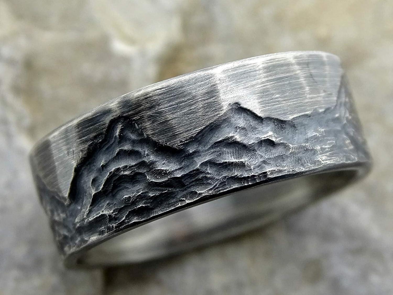 Amazon Com Rugged Mountain Ring Silver Boho Wedding Band Mens
