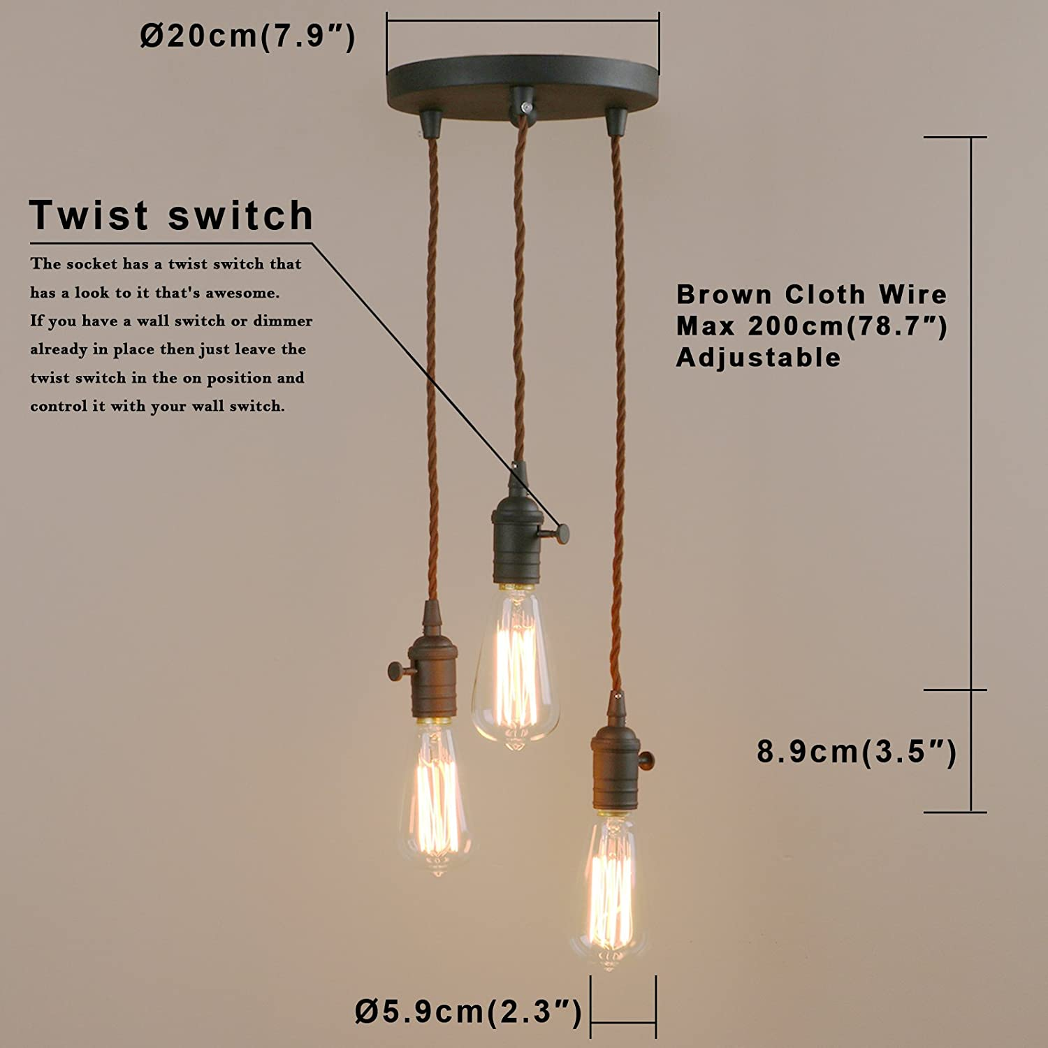 Pathson Industrial Factory Mini Pendant With 3 Head In Retro Design Wiring Wall Switch To Ceiling Light Vintage Simple Home Fixture Flush Mount Adjustable Textile Cord
