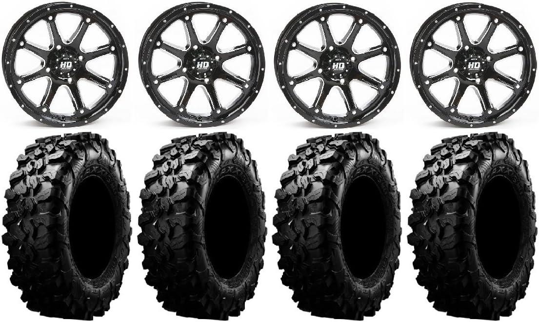 4x156 Bolt Pattern 12mmx1.5 Lug Kit 9 Items STI HD4 14 Wheels Black 28 Carnivore Tires Bundle