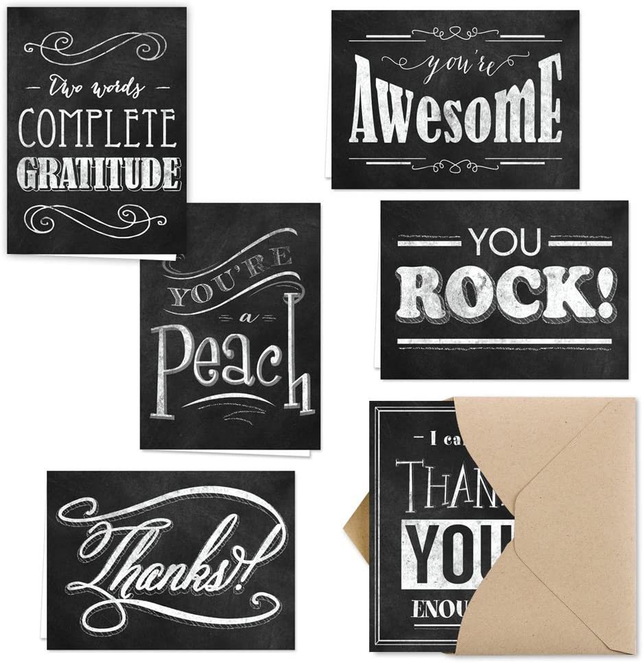 Retro Chalkboard Thank You Note Card Assortment Pack - Set of 36 cards - 6 designs blank inside - with Kraft envelopes