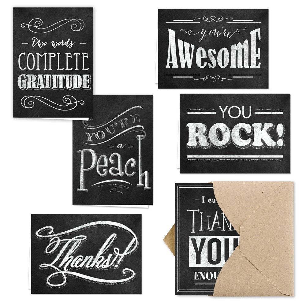 Retro Chalkboard Thank You Note Card Assortment Pack - Set of 36 cards - 6 designs blank inside - with Kraft envelopes by Canopy Street