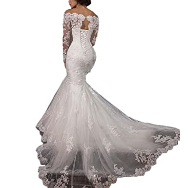 Women s Sexy Lace Strapless Mermaid Wedding Dresses Off The Shoulder Long  Sleeve Bridal Gown Ivory US2 6770df7fc