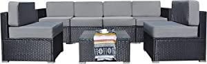 Mcombo Patio Furniture Sectional Set Outdoor Wicker Sofa Lawn Rattan Conversation Chair with 6 Inch Cushions and Tea Table(Grey) 6082-7PC