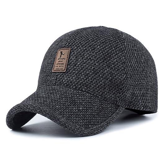 66c75e37b7155 REGITWOW Men s Warm Wool Woolen Tweed Peaked Baseball Caps Hat with Fold  Earmuffs Warmer Black