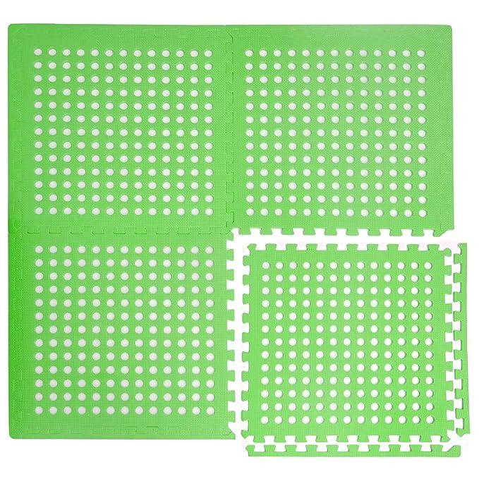 Eyepower 1cm Dicke Poolmatte Bodenmatte 1,59qm Bodenfolie Bodenfliese Unterlage für Pool Robustes Stecksystem mit Lüftung Rut
