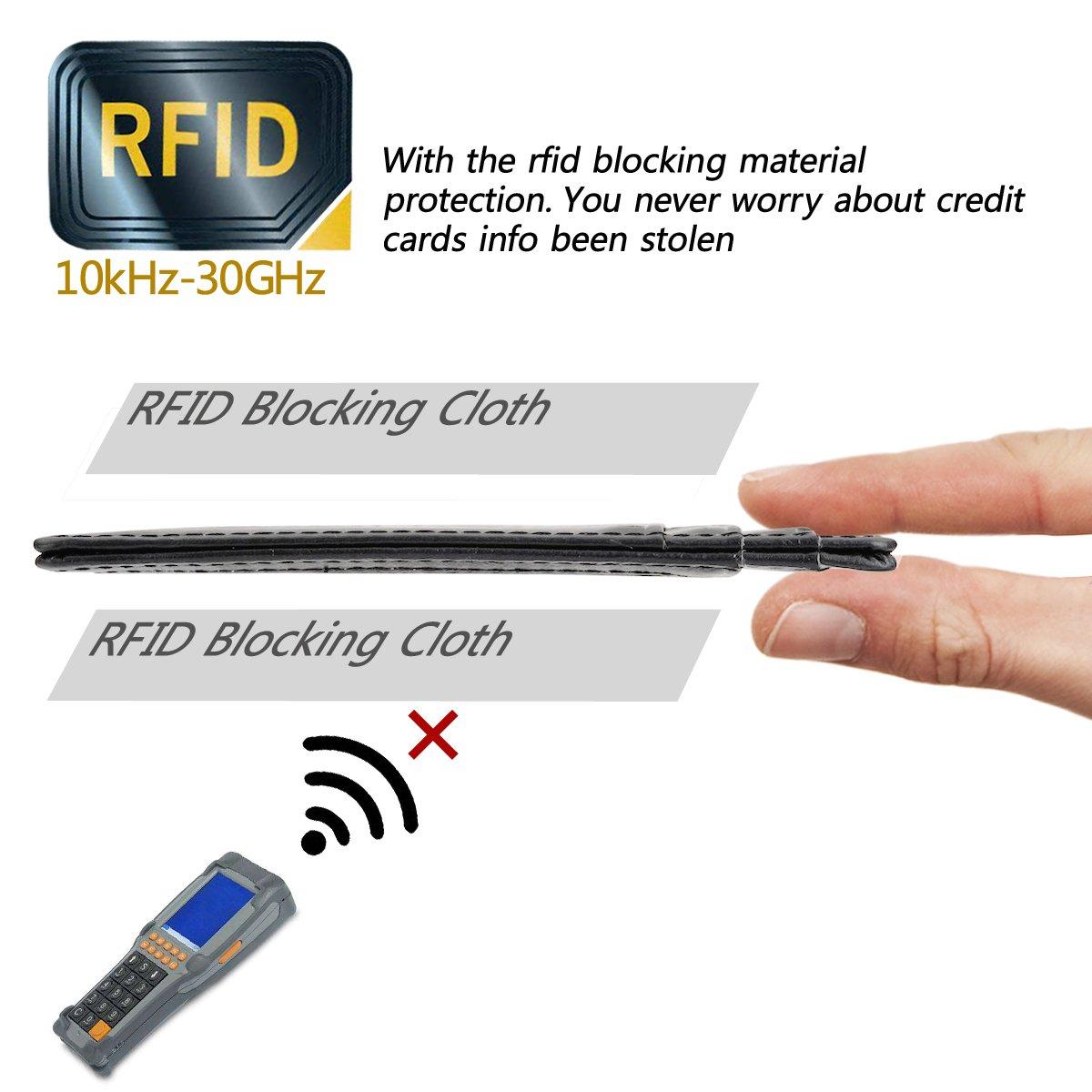 GH GOLD HORSE Slim RFID Blocking Card Holder Minimalist Leather Front Pocket Wallet for Women (Black) by GH GOLD HORSE (Image #4)