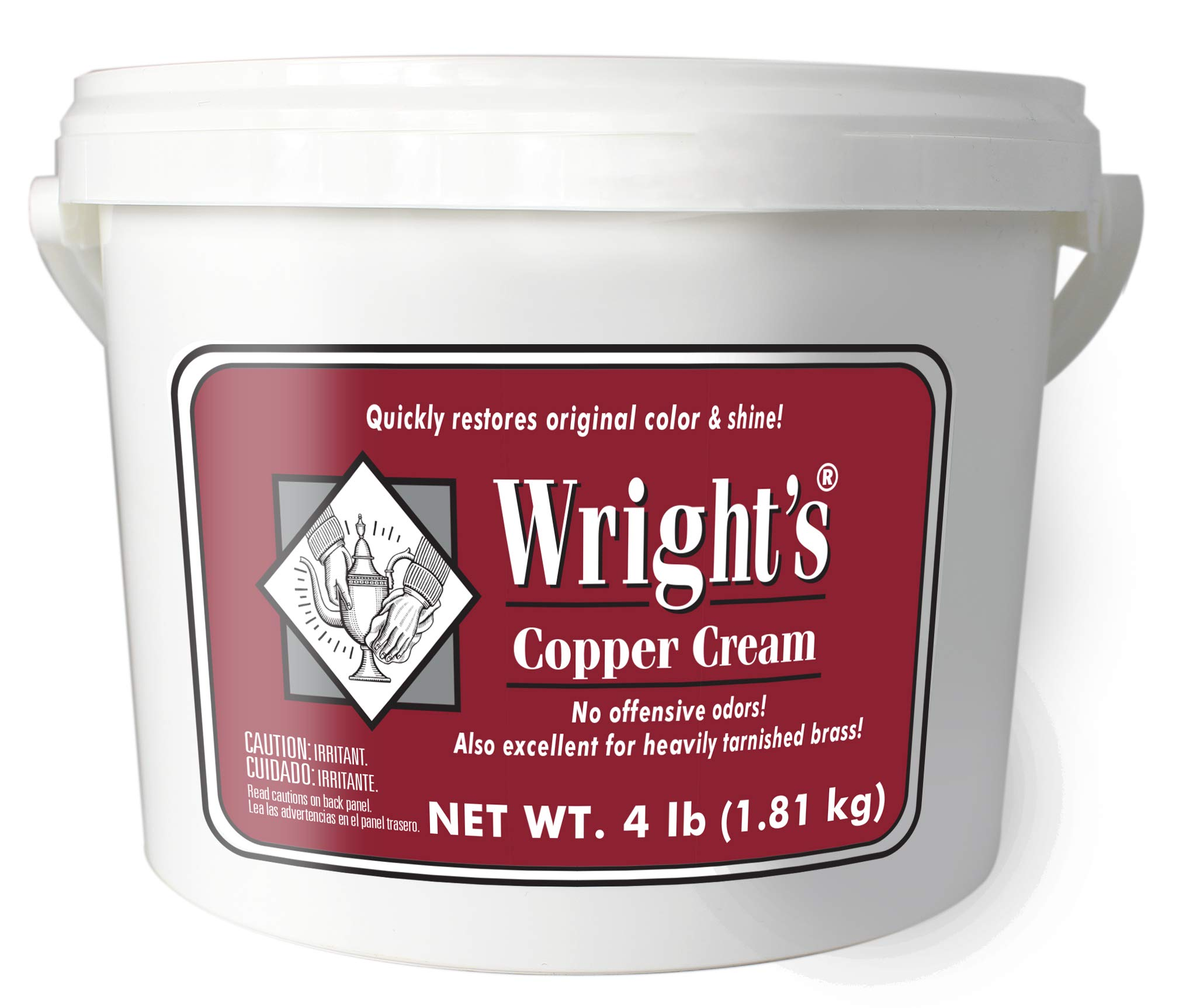 Wright's Copper and Brass Cream Cleaner - 4 Lbs - Gently Cleans and Removes Tarnish Without Scratching by Wright's