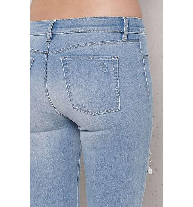 58ce667222c17 Amazon.com: Pacsun Womens Mae Blue Ripped Perfect Fit Jeggings: Clothing