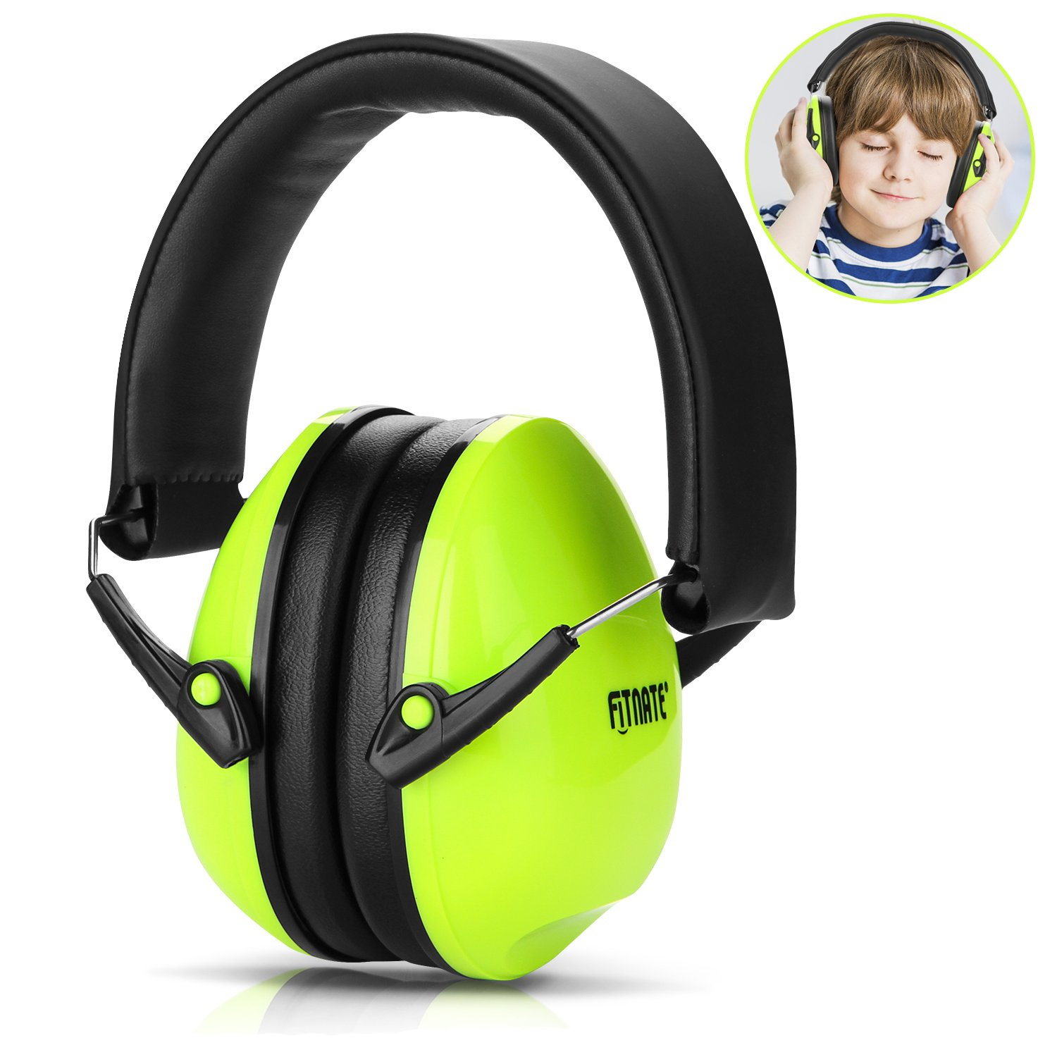 Baby Ear Muffs, FITNATE Safety Infant Ear Protection, NRR26, SNR29 Professional Noise Reduction Adjustable Head Band Ear Defenders for Babies, Toddles and Kids (Green)