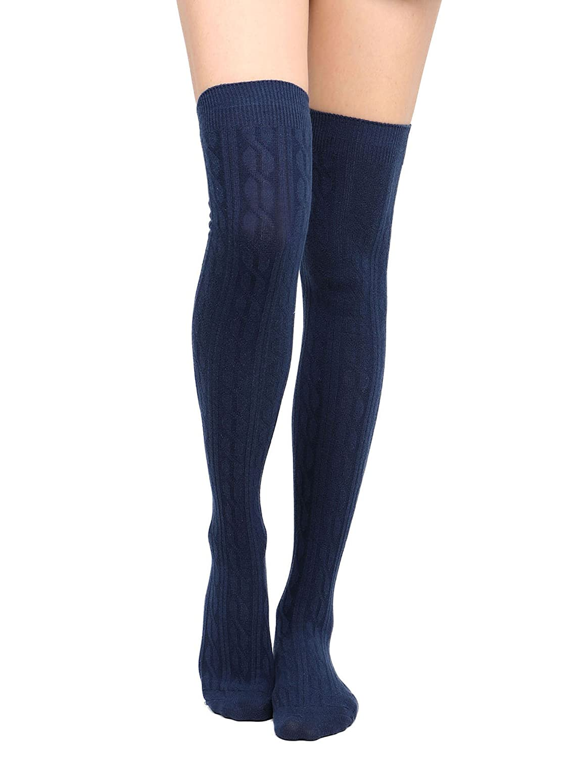Women's Cable Knit Knee-High Winter Socks – 1-3 Packs Black Simplicity MC171014300514-CA