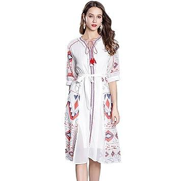 JUWOJIA Moda Mujer Verano Personalizados De Gama Alta De Estilo Étnico Retro Vintage Vestidos Vestido Blanco