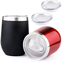 Travel Coffee Mug Set of 2 Stainless Steel Tumbler with Lids Insulated 12 OZ Cups for Bulk Drinking