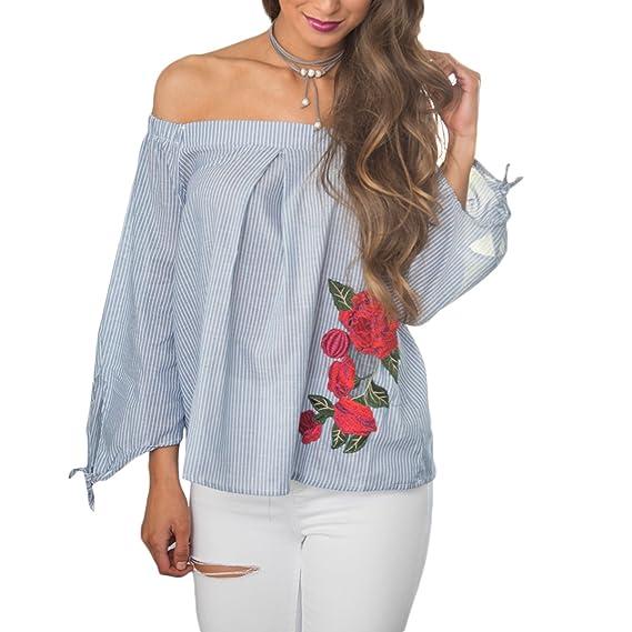 Tomayth las Mujeres Casual Camisas Franja Manga Larga Hombros Descubiertos de la Camiseta Moda Flores Impresión