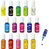 Epoxy Resin Pigment,15 Colors Translucent Liquid Epoxy Resin Colorant Each 0.35oz, Non-Toxic Epoxy Resin Dye Mix Color Liquid