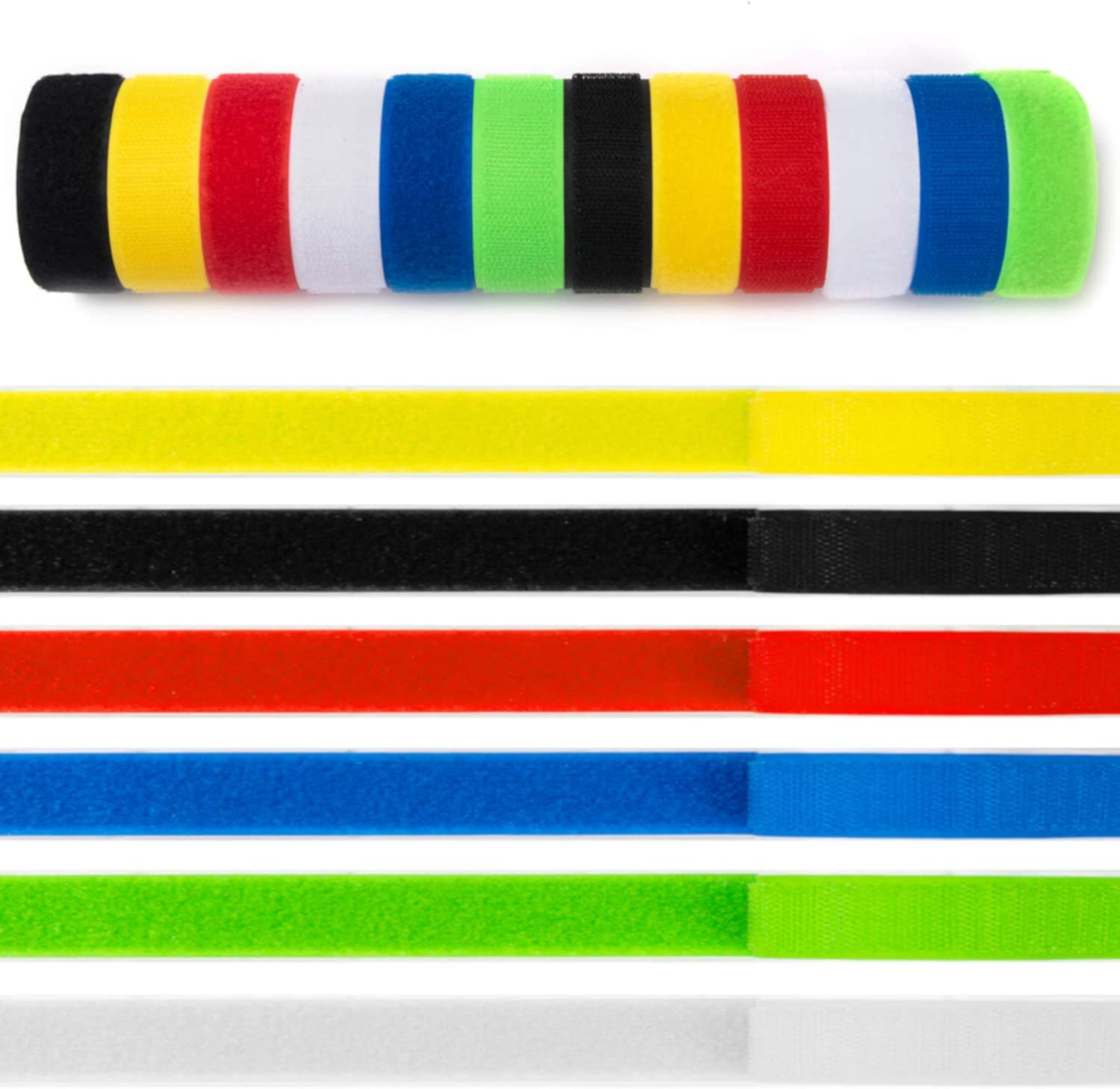 "Miracle Market 20 ft of Colorful ¾"" Hook & Loop Strips with Adhesive Backing - Heavy Duty Hook and Loop Tape for Home, Office, Classroom - Industrial Strength, Sticky Back Fastener Strip, 6 Colors"