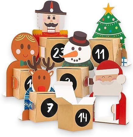 Calendario de Adviento para rellenar, 24 figuras navideñas de cartón para colocar con caja para rellenar y pegatinas con números: Amazon.es: Hogar