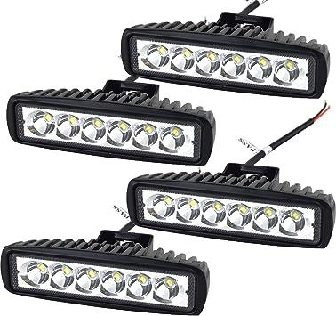 4Pcs 18W 6inch Spot LED Fog Light Bar Lamp Work Offroad Boat ATV Driving UTE