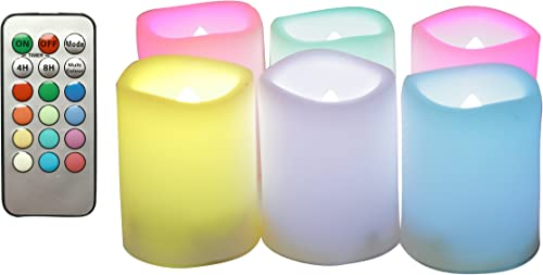 LED Color Changing Flameless Votive Candles Battery Operated Flickering Multi-Color Decorative D cor Candle Lights with Remote and Timer for Xmas Christmas Wedding Party Event 1.5 x2 6-Pack