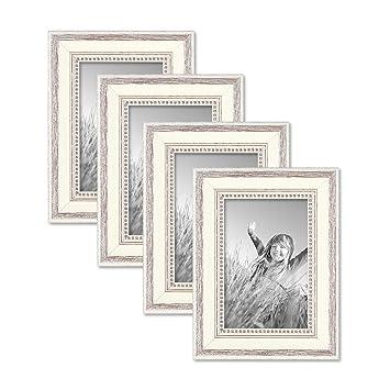 Photolini 4er Set Bilderrahmen Shabby Chic Landhaus Stil Weiss 10x15 Cm Massivholz Mit Glasscheibe Und Zubehör Fotorahmen