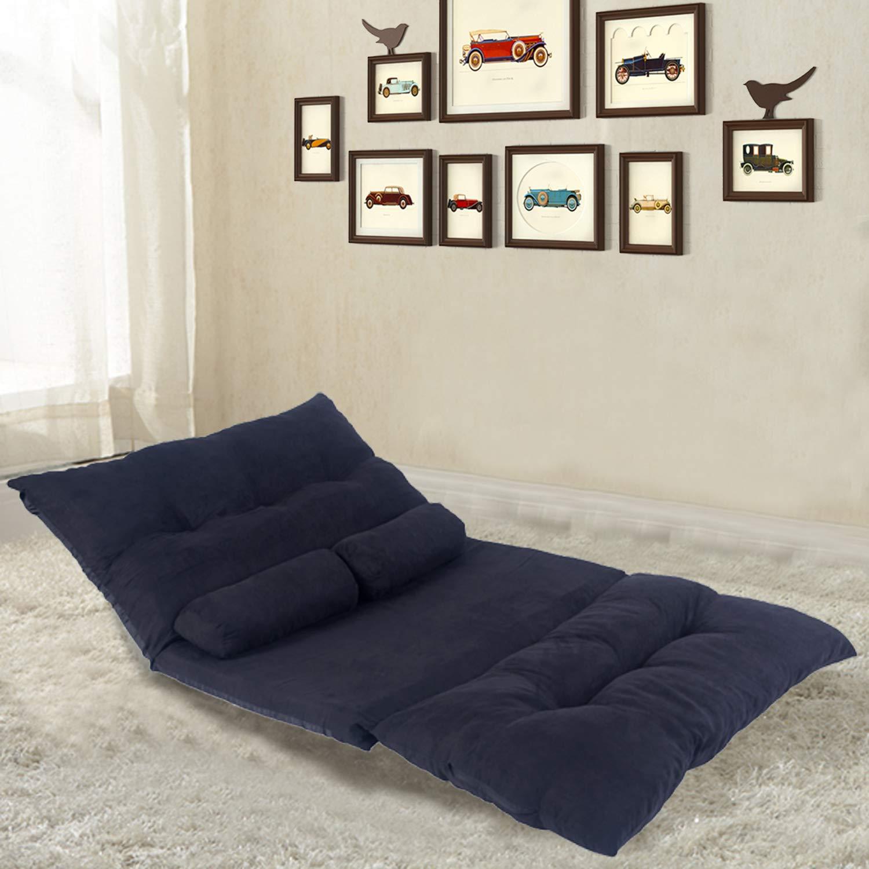 Futon Set Sofa Lounge Sleep Smaller Size Furniture Foldable Futon Sleeper Sofa Bed (Dark Blue) by Flieks