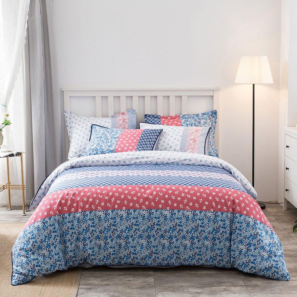 Umi. Essentials – Bunt bedruckte Bettwäsche aus reiner Baumwolle mit  Kopfkissenbezug (135x200+1x80x80cm)