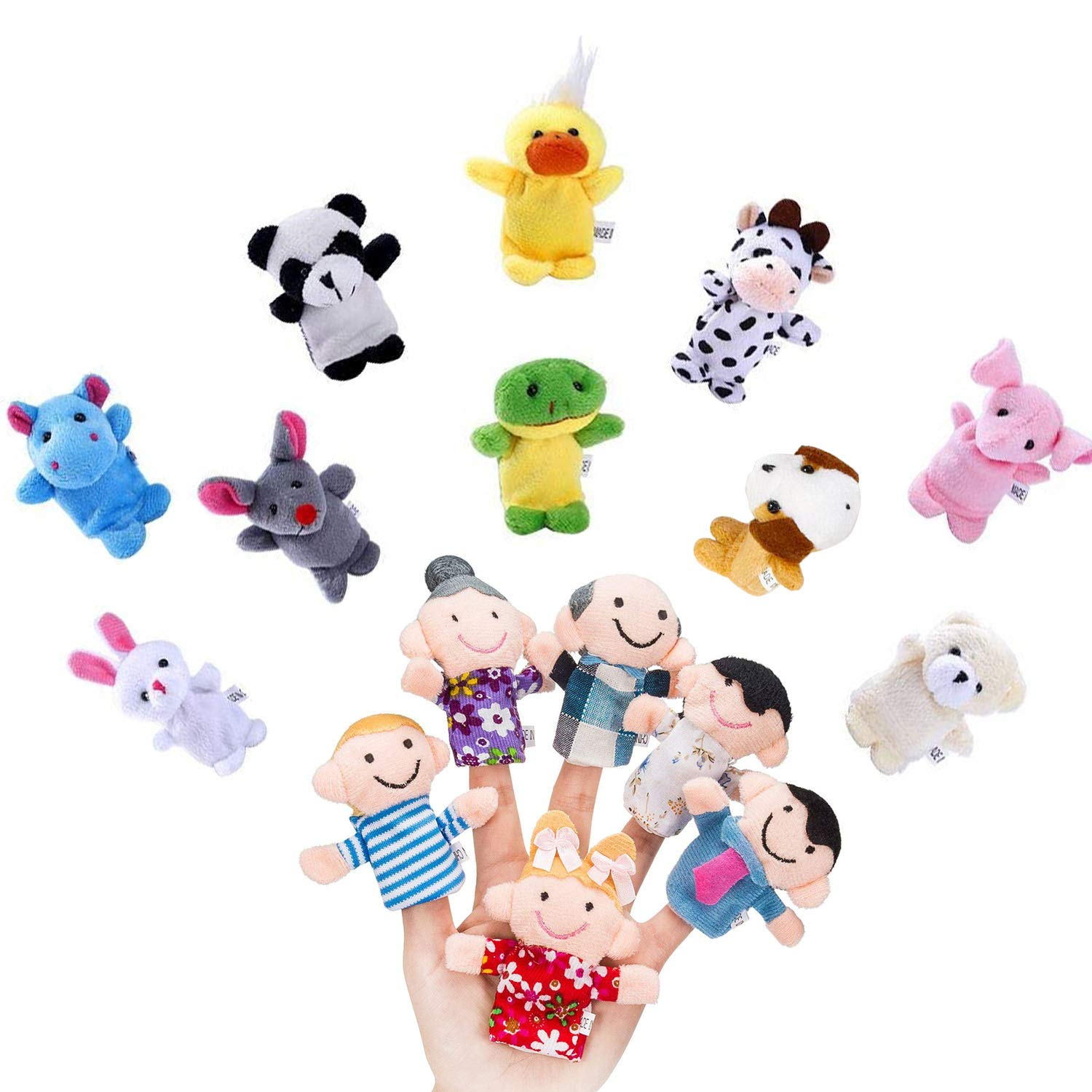 Y-luck 16 Pcs Finger Puppets -10 Animals and 6 People Family Members,Educational Toy Velvet Cute Toys for Children Story Time,School Playtime, Show,Gifts